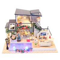 1:24 DIY Handcrafts Miniature Wooden Dolls House Furniture LED Hand Control Light Kit – Vocation House with Swimming Pool