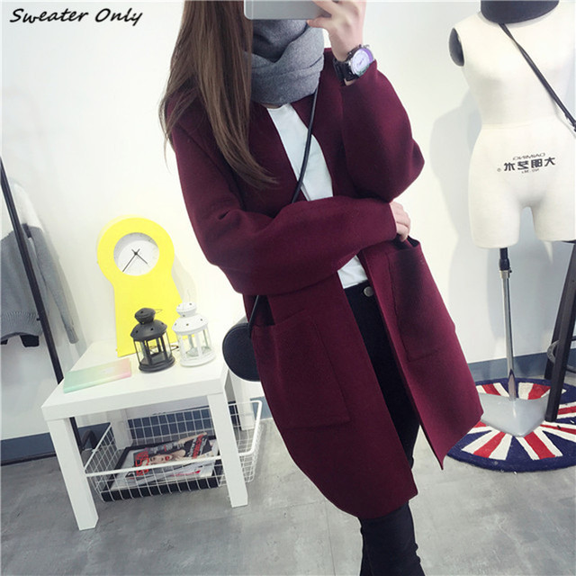 2016 новый горячий продажа женская осень зима длинный участок карманы о-образным вырезом вязать причинные свитера кардиганы пальто женщина большой ярдов пальто