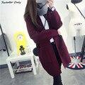 2016 nueva venta caliente de la mujer otoño invierno sección larga del o-cuello bolsillos cardigans de punto abrigo de mujer yardas grandes suéteres causal abrigos