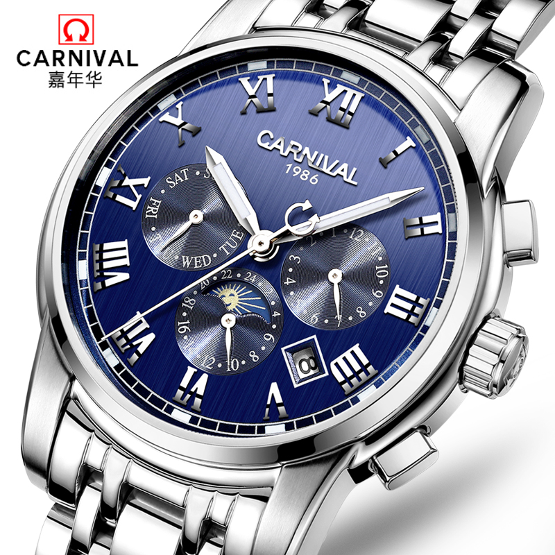 Carnival famous brand automatic mechanical watches military full steel luminous waterproof diving luxury men watch relogio clock carnival military hot automatic mechanical sports brand men watches full steel waterproof fashion luminous luxury watch big dial