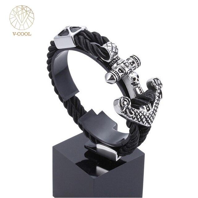 Punk Jewelry Steel Men\'s Anchor Bracelet Bangle Male Wrap Black Wire ...