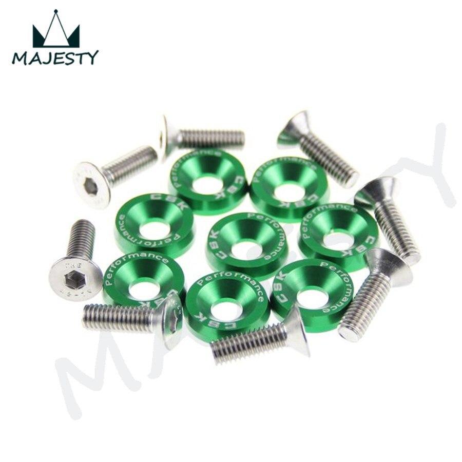 16 шт. M6 широкий Болт шестигранный винт бампер крыло шайба анодированный алюминий BK/RD/BL/SL/GD/PL/зеленый цвет