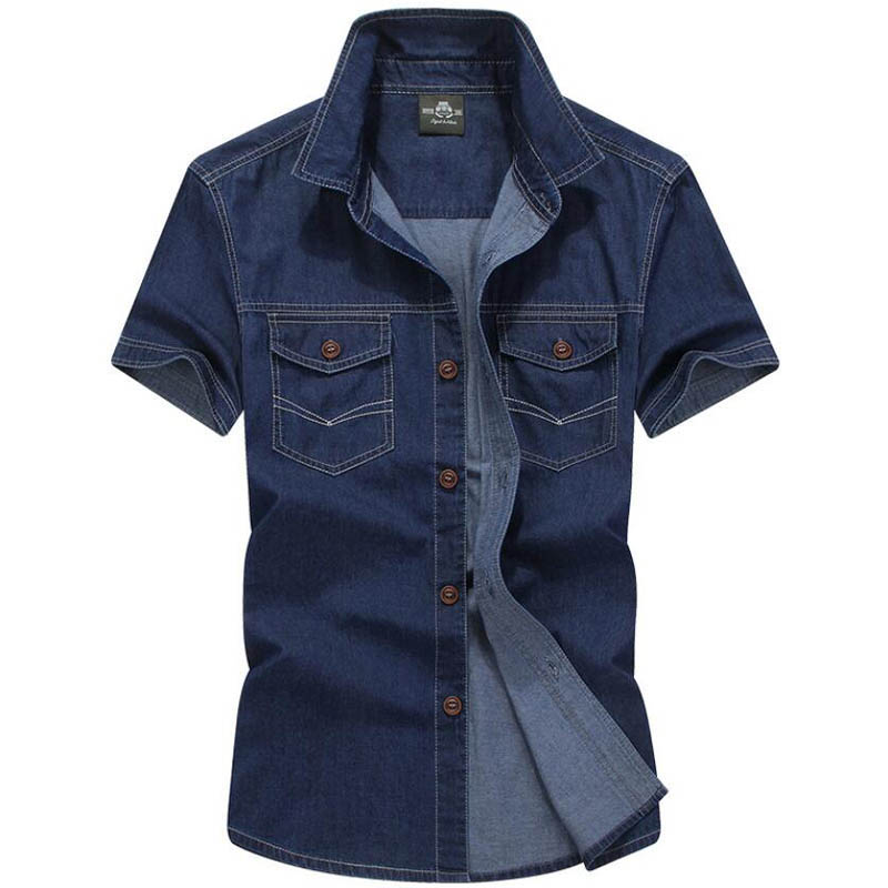 Brand New Summer Shirt Men Casual Shirts Short Sleeves Men Shirt Military Shirt Men Pure Cotton Chemise Homme Plus Size M-5XL