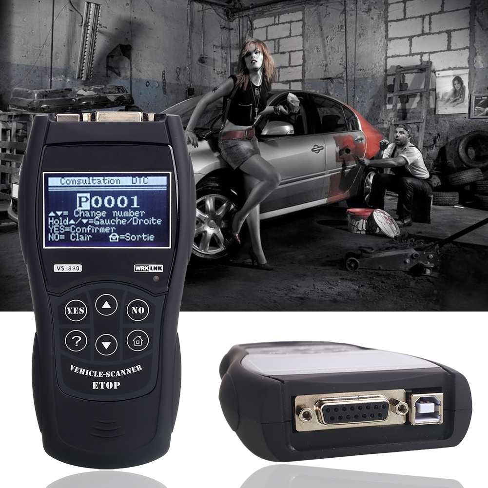 ABS Black Tool OBD2 Accurate Car Scanner Durable Vehicle Diagnostic Tools Maintenance for for Vs890