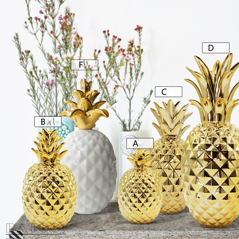 Creative ceramic golden pineapple Figurines Modern feng shui plant Fruit  Miniatures home decoration Crafts Gifts Accessories