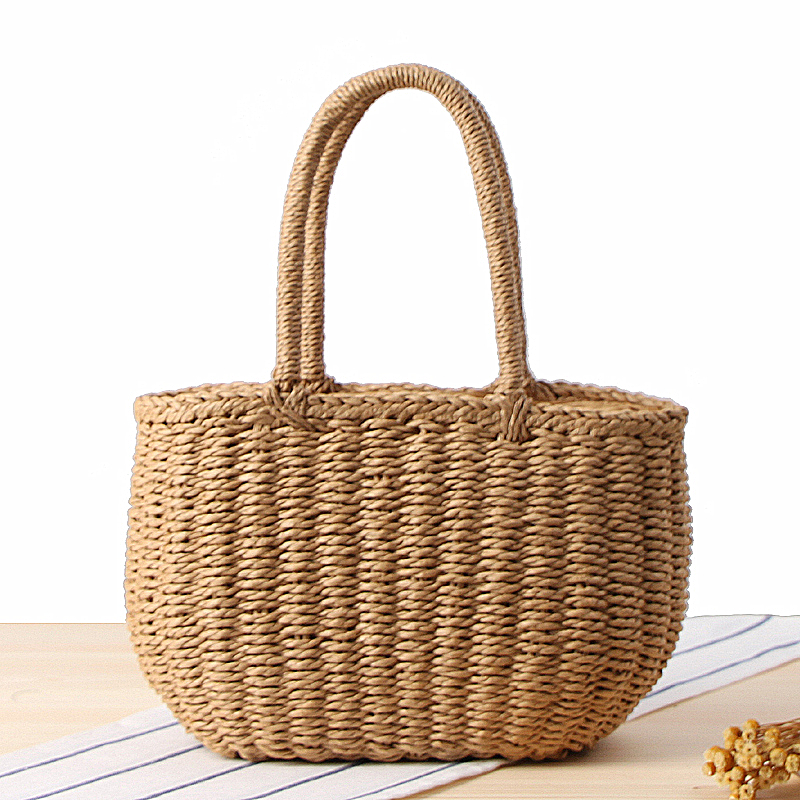 New Arrival Amasie 2018 New Summer Straw Tote Beach Bag Women Ladies Sac Hollow Out Fashion String Purse 2 size EGT0111