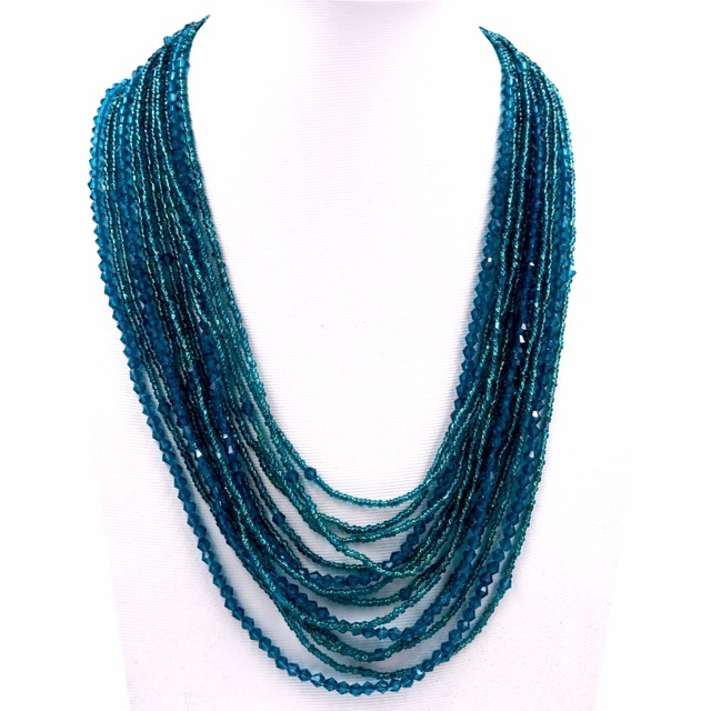 906ed4dd3dd0b US $35.0 |2017 new design lake blue crystal 14 layer seed beads statement  necklace bib necklaces for party-in Choker Necklaces from Jewelry & ...