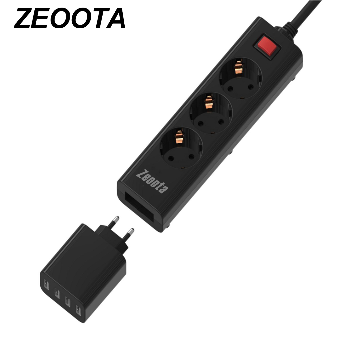 все цены на Power Strip Multiple Socket with USB 3 EU Outlets 4 USB Ports Removable Quick Wall Charger Surge Protection 1.5m Extension Cord онлайн