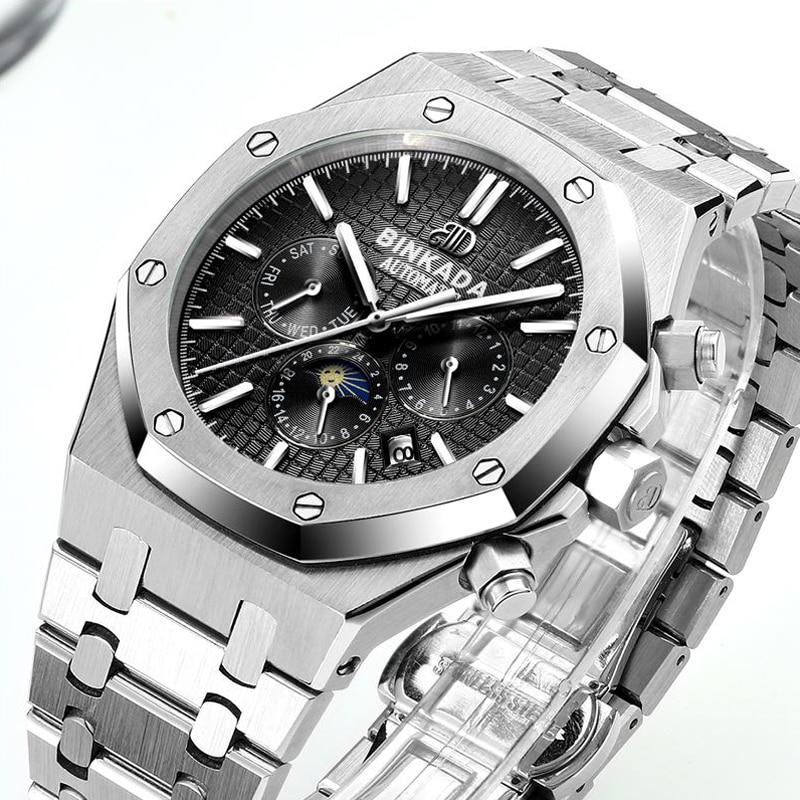 Multifuncional luna reloj multifuncional reloj mecánico automático - Relojes para hombres