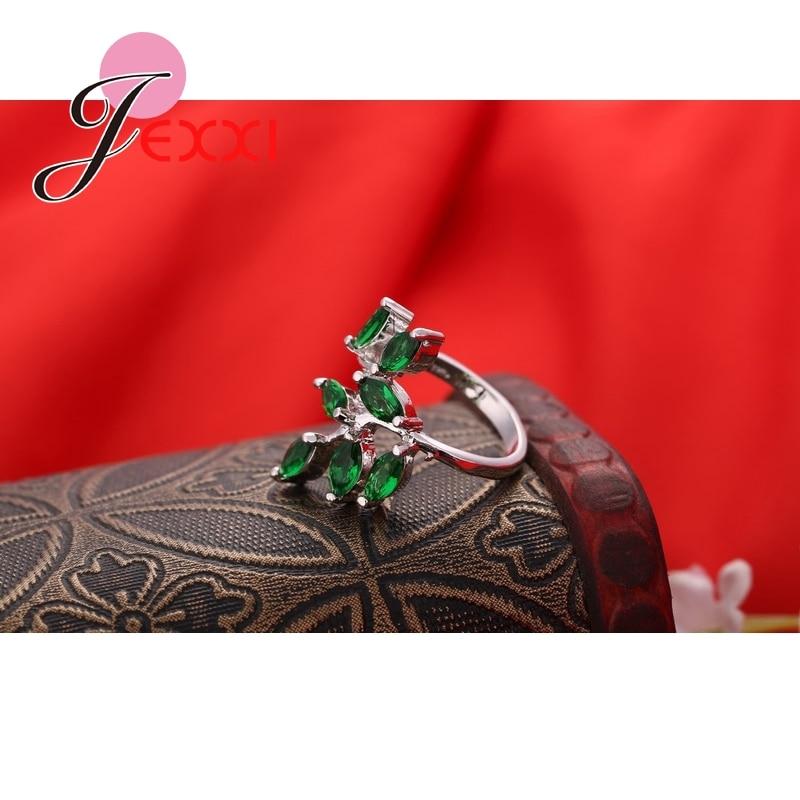 Mode søde friske blade 925 sterling sølv ring med fuld grøn - Smykker - Foto 3
