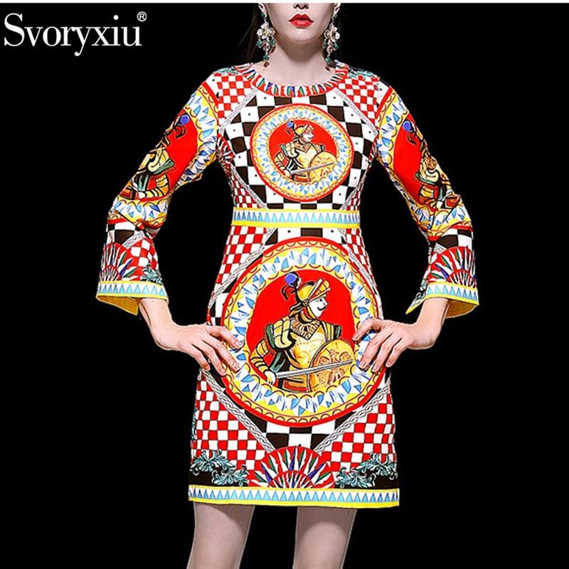 Svoryxiu Spring Summer Runway Elegant Dress Women s Fashion Long Sleeve lattice Warrior Printed Vintage Party