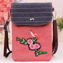 M309 Fashionable Creative Women Bag Ethnic Style Denim Fabric Canvas Roses Clubs Magpie Bird Double Zipper A Small Satchel(China)