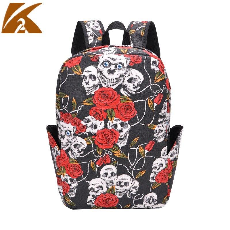KVKY Punk crâne Florals sac à dos femmes mode toile sacs d'école pour adolescents filles sac à dos pour ordinateur portable sac Mochilas Feminina