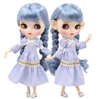 factory blyth doll 1/6 bjd white skin joint body blue mix purple hair, new matte face Carved lips with eyebrow customized face