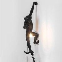 Resin Black White Monkey Pendant Light For Living Room Lamps Art Parlor Study Room Led Lights Lustre With E27 Led Bulb