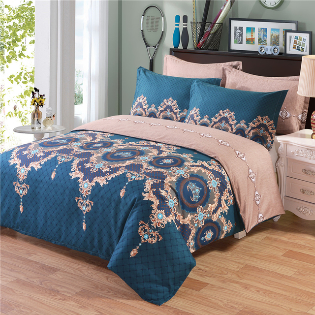 New 2017 Comforter Bedding Sets Printed Bed Duvet Cover Set King Size Pillowcases Flat Sheet