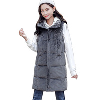 Long Vest Winter Coat Women Sleeveless Down Jacket 2018 New Slim Female Quilted Coat Femme Korean Waistcoat Colete Female
