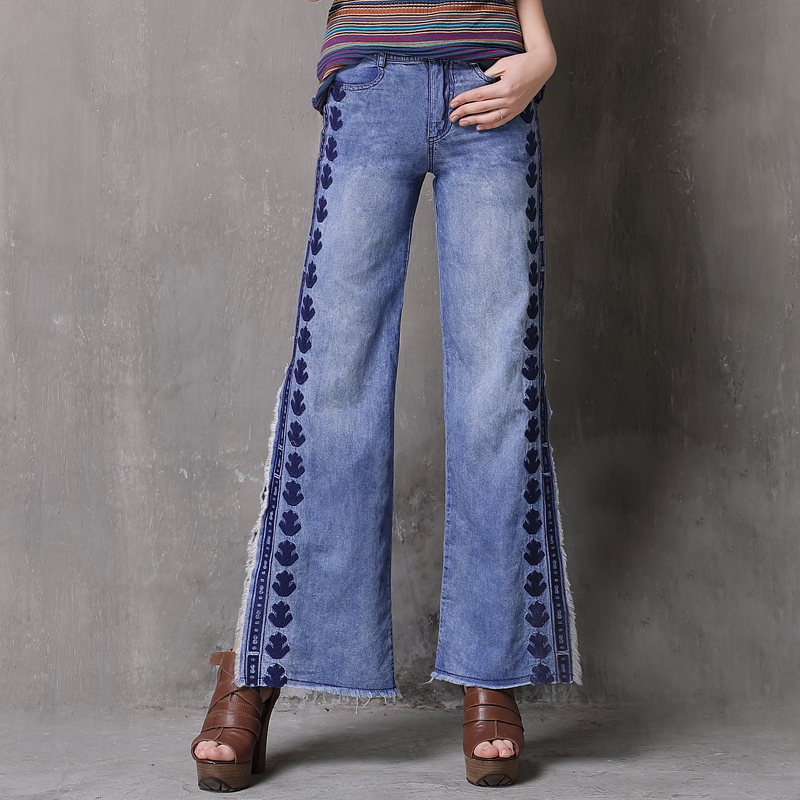 Women Pants 2018 Keer Boho Embroidery Denning Jeans Vintage Fashion Washed Split Denim Trousers Wide Leg Pants X2220 Feminino ...