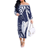 Adogirl Leaf Printed Slash Neck Women Dress Summer 2018 Bodycon Long Sleeve Slim Pencil Dresses Female Vestido Plus Size