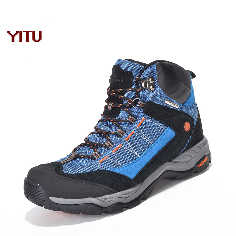 YITU Outdoor Waterproof Men Hiking Shoes Sports Trekking Mountain Climbing Sneakers Anti-skid Hunting Boots Men Winter Sneakers humtto new hiking shoes men outdoor mountain climbing trekking shoes fur strong grip rubber sole male sneakers plus size