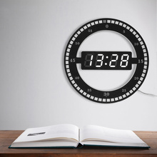 Circular LED Digital Wall Clock, Modern Design Dual Dimming Clocks For Home Decoration