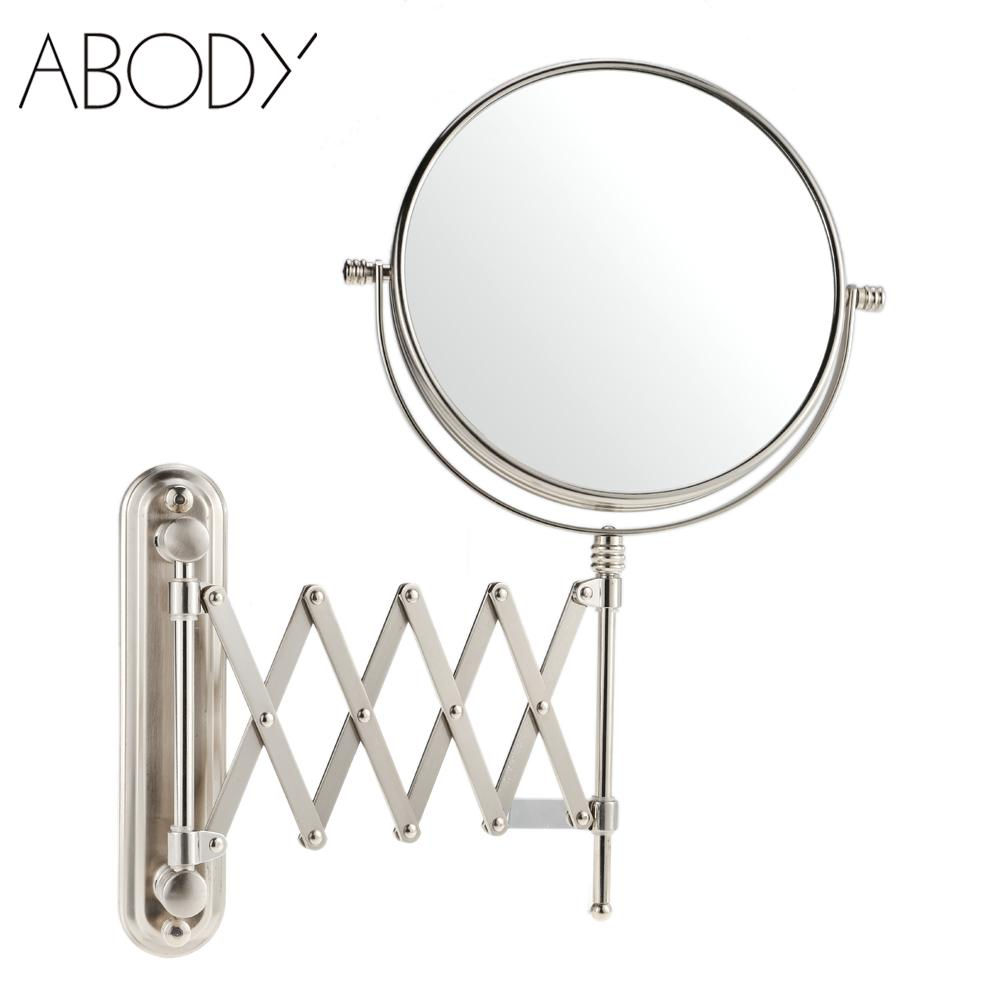 Wall mounted makeup mirror square 3x in wall mirrors - Dual Side Wall Mounted Bathroom Makeup Mirrors 8 Inch 7x Magnification Stretchable Rotatable Hotel Hanging Cosmetic