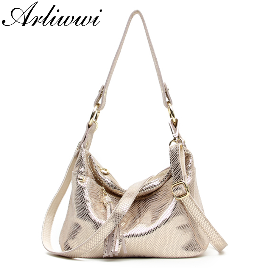 New Luxury Serpentine Pattern Embossed Handbags Shiny Genuine Leather Women Designer Hobos Multi Functional Tote Bags