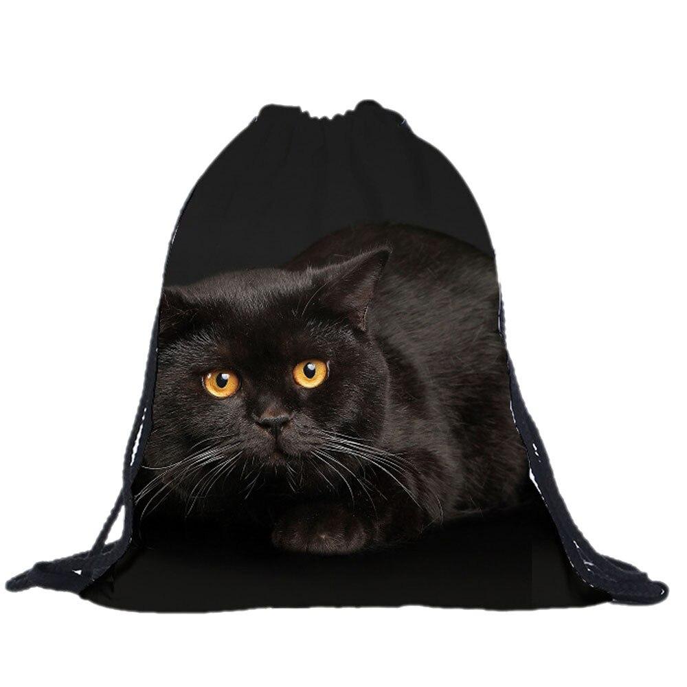 Unisex Drawstring  bags women men lovely Cat 3D Printing Bags super quality shop bag
