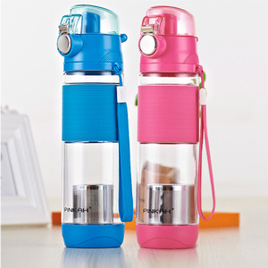 Pinkah Water Bottle 600ML Skid-proof Sleeve Plastic Drinking Sport With Rope Portable Drinking Kettle Travel Cup For Students