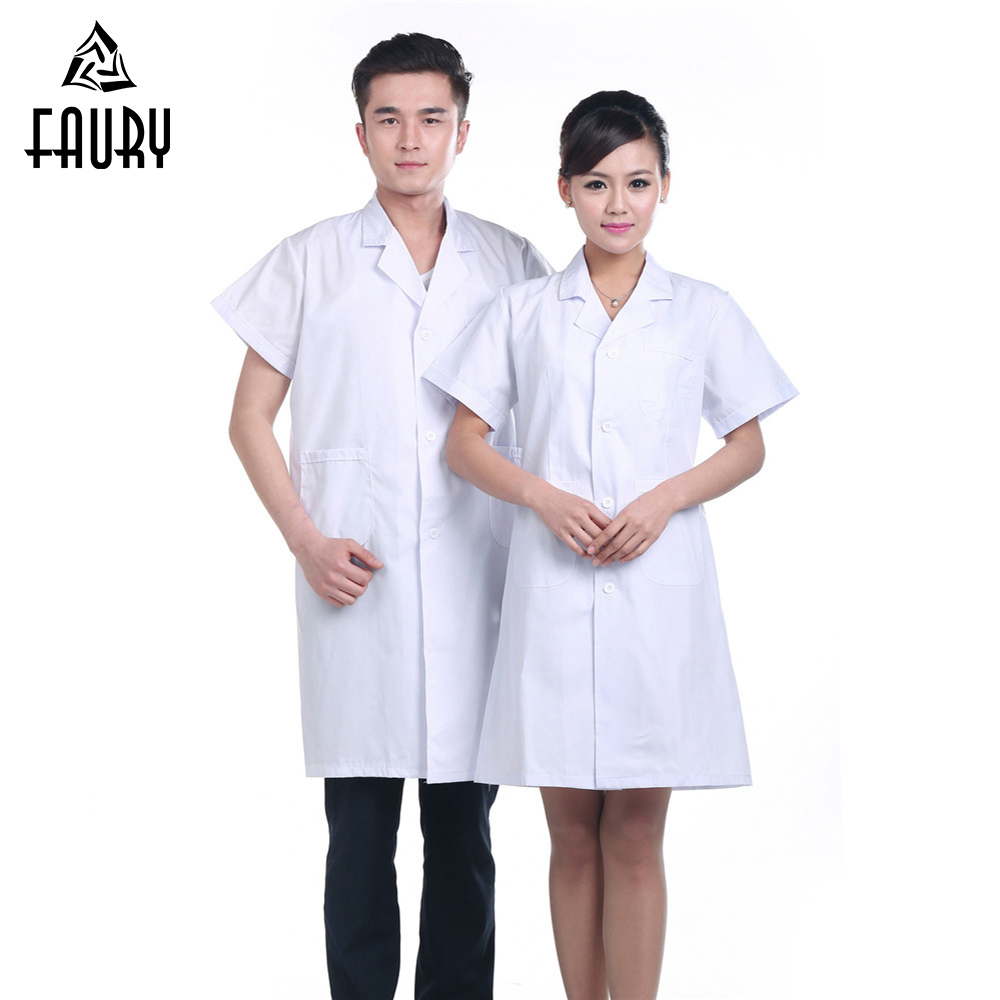 Men Women Doctor Nurse Serving Uniform Medical Clothing Pharmacy Lab Short Sleeve Coat Suit Collar Pocket Work Wear Accessories