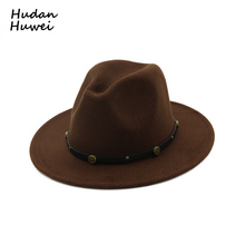 Ladies Woolen Trilby Hat Felt Panama Fedora Jazz Sun Beach Style with Black Belt Band for