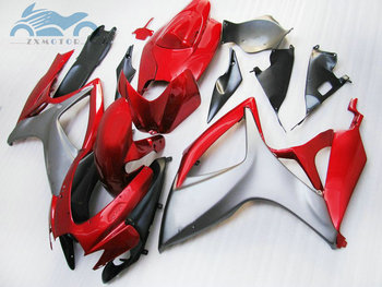 Custom Injection Fairing kits for Suzuki GSXR 600 06 07 K6 750 motorcycle fairings parts GSXR750 2006 2007 red gun gray
