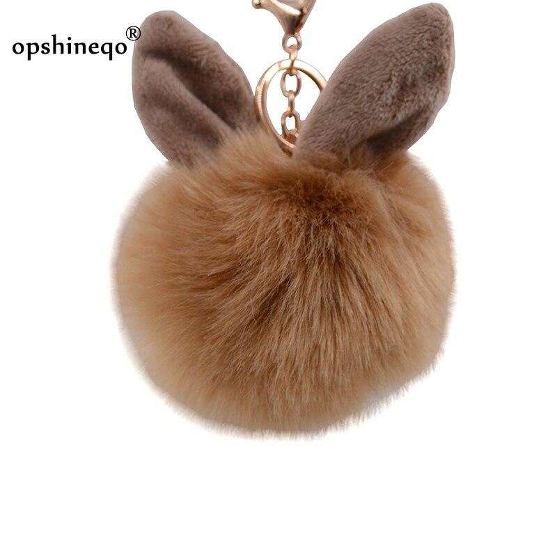 New Fur Pompom Keychain Fake Rabbit Fur Ball Key Ring Porte Treble Clef Pompon De Fourrure Fluffy Bag Pendants Bunny Keychains