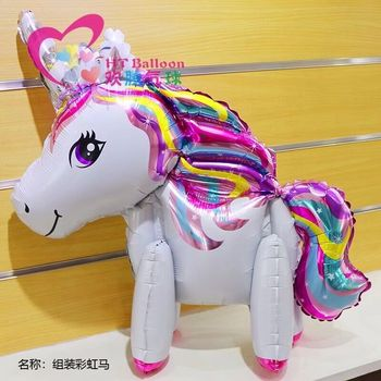 NEW! 50pcs 3D cute rainbow unicorn helium foil balloons cartoon animal balloon baby shower birthday party wedding Decor globos