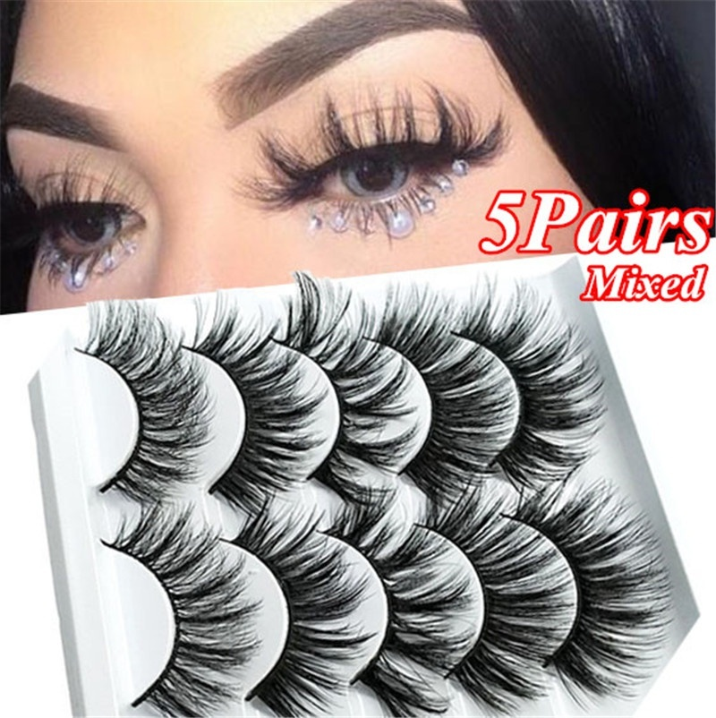 5 Pairs Multipack 3D Soft Mink Hair False Eyelashes Handmade Wispy Fluffy Long Lashes Nature Eye Makeup Tools Faux Eye Lashes