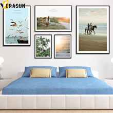Coconut Tree Seagull Sea Beach Horse Surf Wall Art Canvas Painting Nordic Posters And Prints Pictures For Living Room Decor
