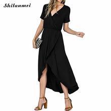 Plus Size Dress Women Elegant Dress Party Dresses V Neck Slit Long Beach Dress Summer Short Sleeve Causal Solid Sexy Robe Femme stylish round neck short sleeve slit plus size dress for women