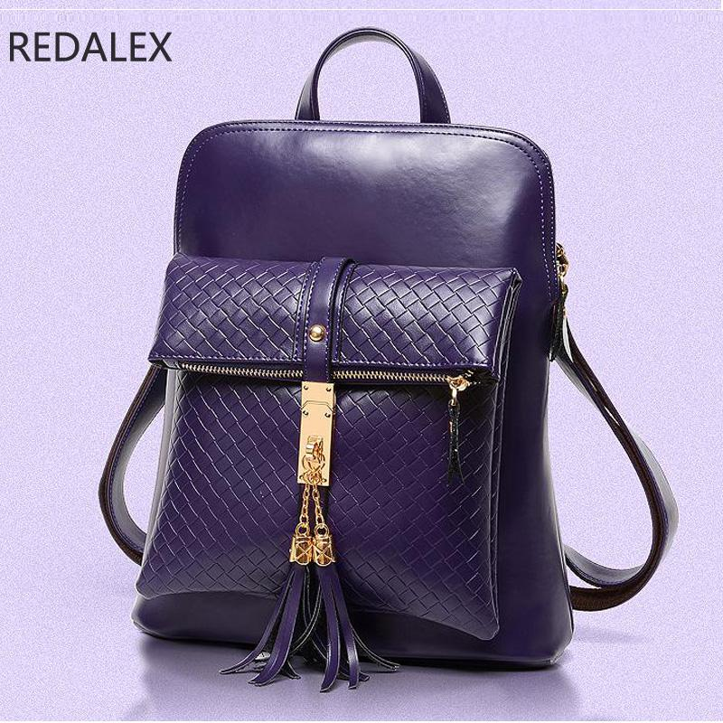 Redalex Women Leather Backpacks School Bag Backpacks For Teenage Girls Shoulder Bag High Quality Travel Backpack Women Mochila annmouler famous brand women leather backpack alligator backpacks high quality elegant shoulder bag black school bag for girls