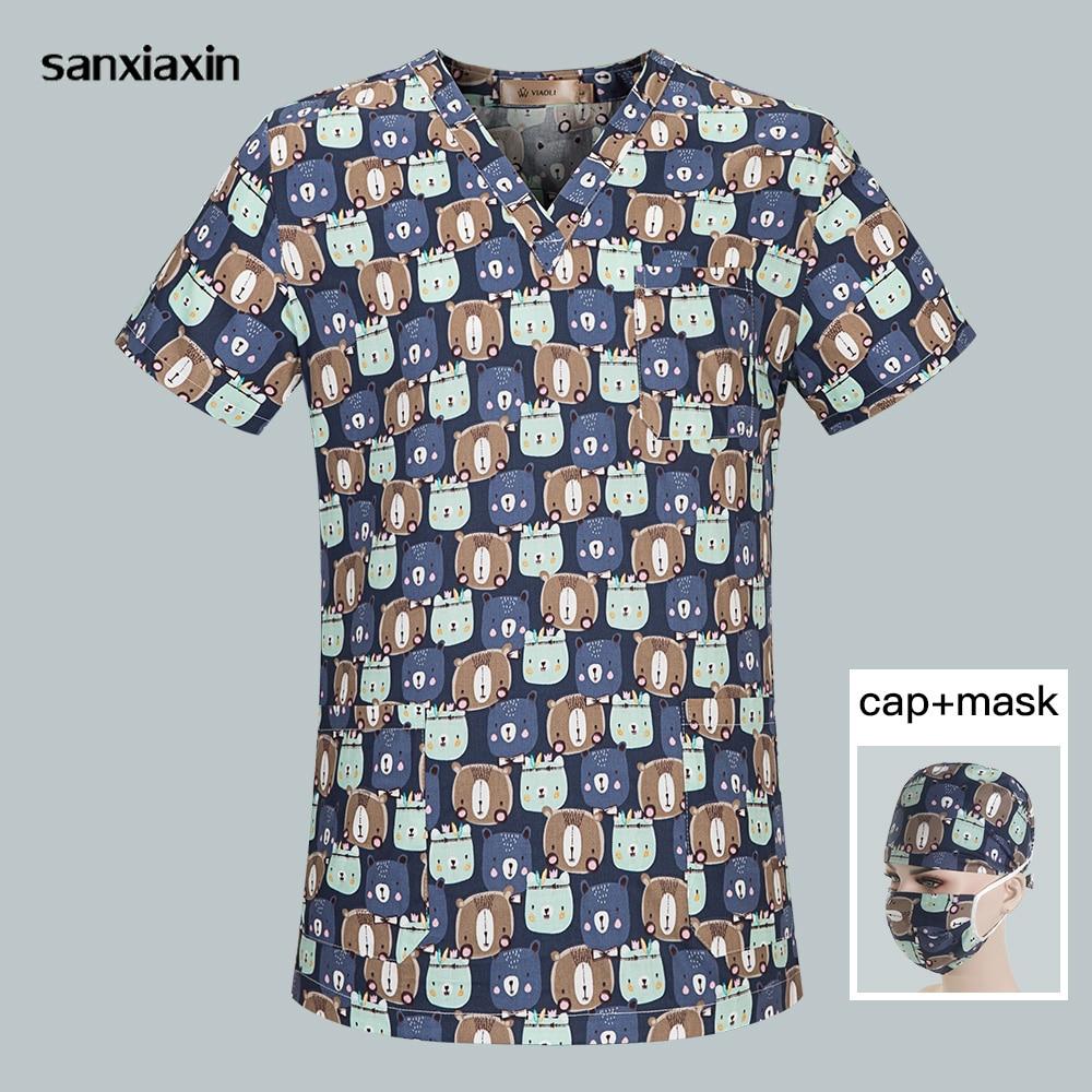 Sanxiaxin Breathable Surgical Medical Uniform Unisex Cartoon Printing V-Neck Scrub Tops Hospital Nurse Scrub Shirt Women And Men