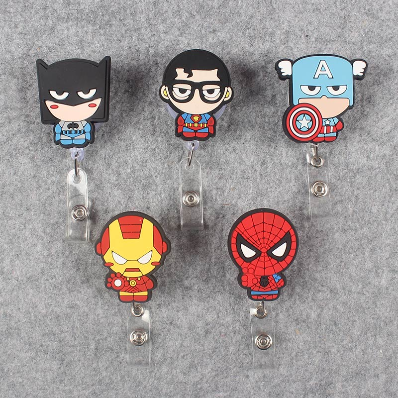 Big Hero Soldier Clown Face Retractable Creative Plastic Badge Holder Reel Student Nurse Exhibition Enfermera Name Card Chest