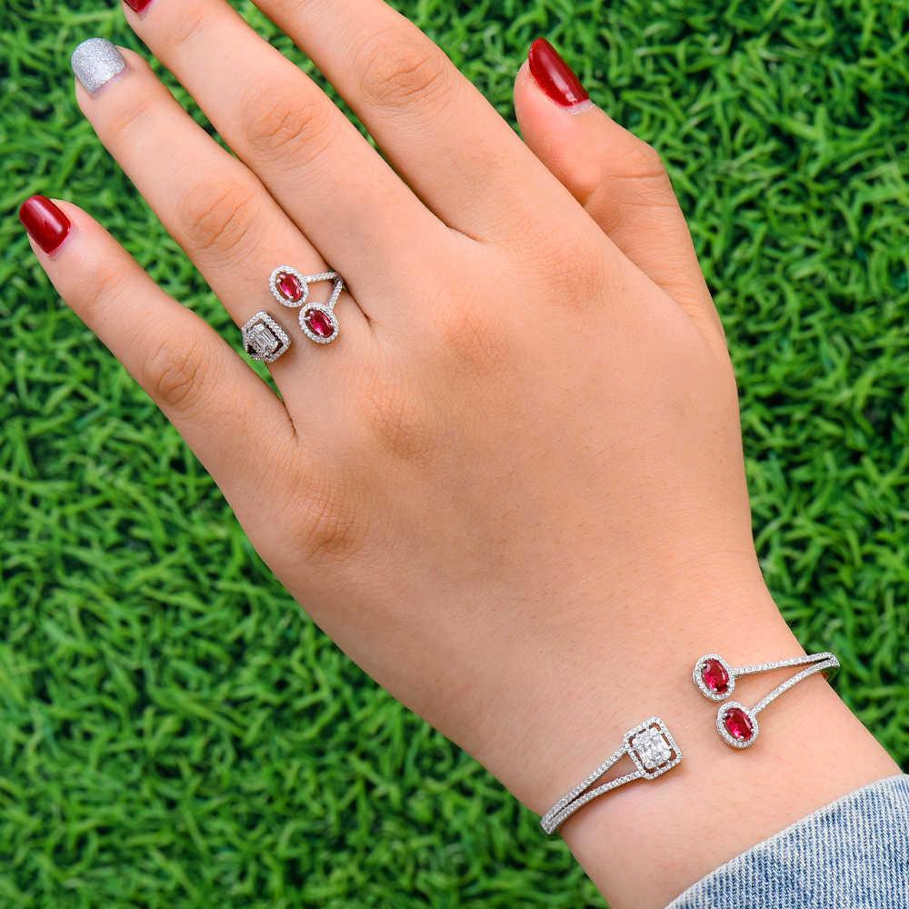 GODKI יוקרה פרח הסעודית צמיד טבעת סטי נשים חתונה מעוקב זירקון קריסטל CZ aretes דה mujer modernos 2019