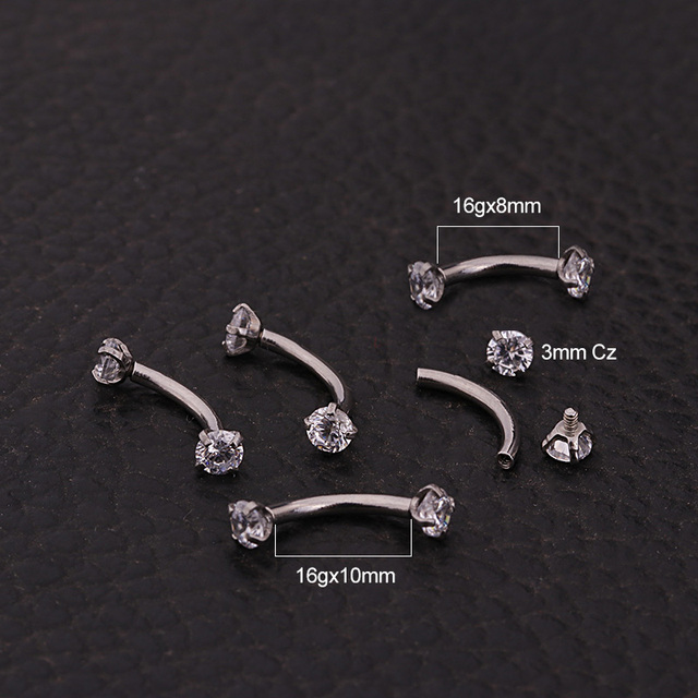 16G Internally Threaded 3mm CZ Curved barbell Eyebrow Ring Snug Piercing Helix Cartilage Jewelry Daith Rook Earrings 1