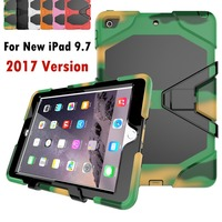 FFor Apple New IPad 9 7 Inch 2017 Shockproof Armor Hybrid Defender Kickstand Case Cover W