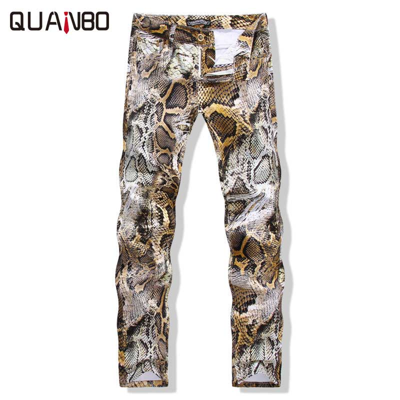 Men's Pants Spring Autumn New Fashion Slim Trousers 2018 Men Casual Pants Snakeskin Printing Rock nightclubs singers PencilPants