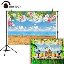 Allenjoy backgrounds for photo beach flowers sky moana cartoon birthday photographic childrens backdrops photocall