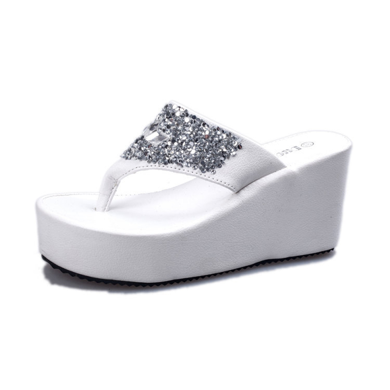 Women Sandals Beach 2016 Spring Summer New Arrival Rhinestone Crystal Wedge  Heels Flip Flop Shoes Woman Sapato Feminino 8c106b030838