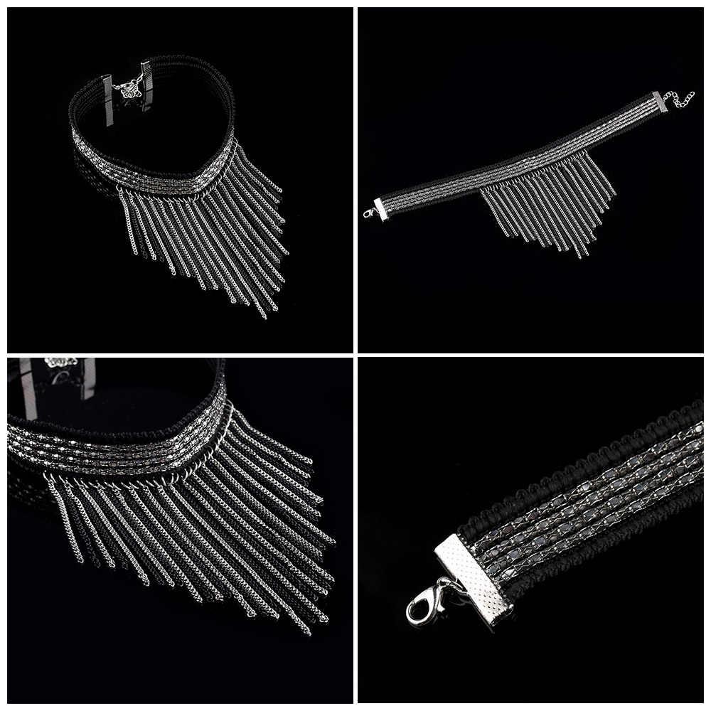 Women Black Punk Silver Tassel Choker Bib statement Collar Necklace Jewelry Women's Fashion Gift