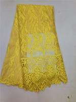 2017 Affordable Price French Lace Fabric With Yellow Sequins High Quality Swiss Voile Lace Fabric For