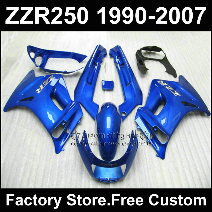 Custom free ABS motorcycles fairings kit for Kawasaki ZZR-250 ZZR250 1990 1992 2007 ZZR 250 90-07 blue body repair fairing parts white blue abs fairing bodywork kit for yamaha fzr250 fzr 250 3ln 1990 1992 91