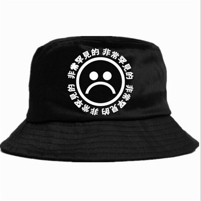 Nuevo sombrero de Fishman plano de verano KYC Vintage negro cubo sombrero de  niños tristes hombres 3960ae5b4f7